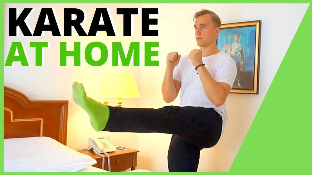 man kicking words karate at home