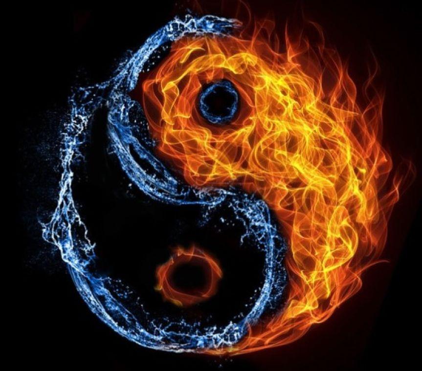 Stylized yin/yang symbol.
